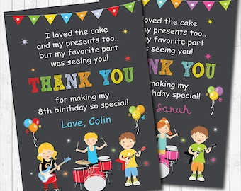 Rock Stars Thank you Card, Rock Star thank you note, Rock Star thank you tags, Rock Stars birthday, Rock Star party, printable