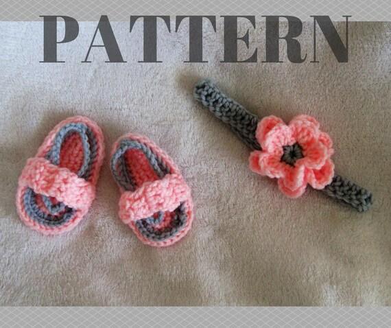 Häkelanleitung flip Flops Muster / Blume Stirnband Muster