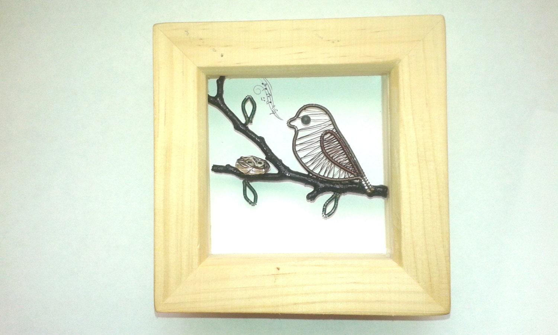 Sparrow Shadowbox Frame, Art Shadow Box Frame Decoration, Handmade ...