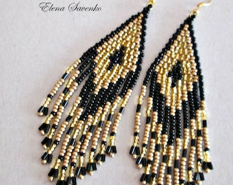 Bead Earrings Native American Style Beadwork Seed Bead Earrings