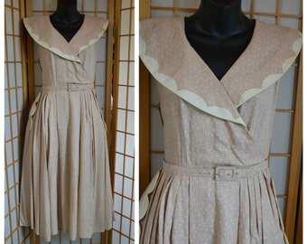 50s cotton garden party day dress womens size small
