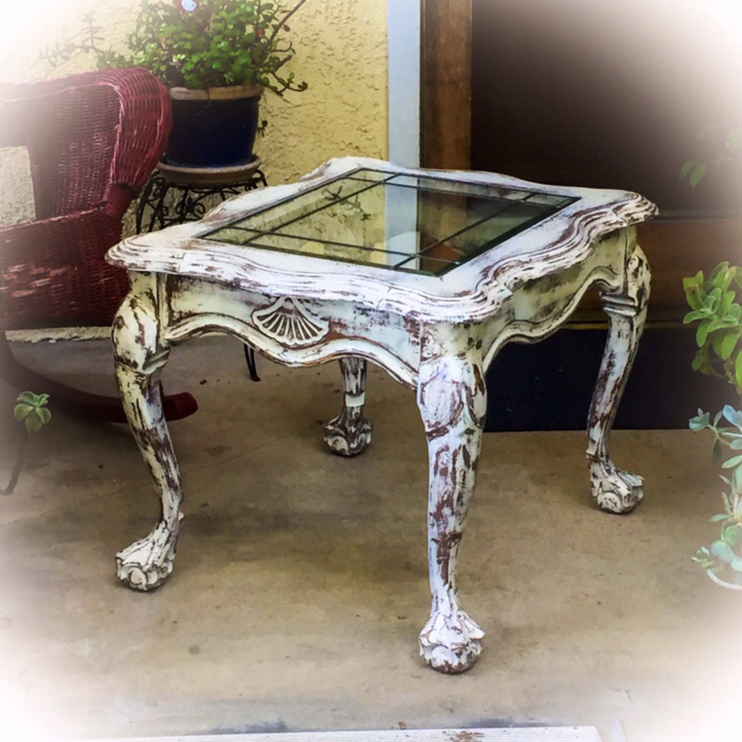 SOLD French Country Antique End Table distressed white
