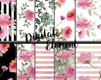 Digital Watercolor Paper Digital Paper Shabby Watercolor Rose Paper, Shabby Chic Scrapbook Paper, Pink Shabby Watercolor Roses. No. P156