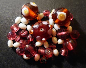 Artisan glass beads Indian pink, amber, white, set of 45 pieces