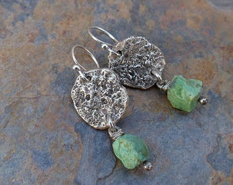 Textured Rough Raw Sterling Silver/Mint Green Chrysoprase Nuggets/Casual Silver Dangle Earrings . Rustic Boho Tribal Southwest Style Jewelry