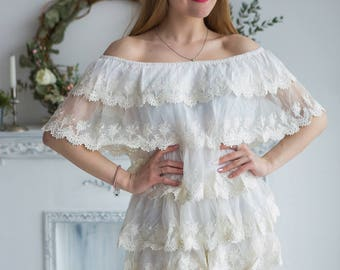 Frilly Lace Off the shoulder Bridal Romper from my Paris Inspirations Collection
