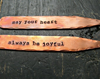 Mens Collar Stays - Personalized Collar Stays - Hand Stamped Collar Stays - Rustic Copper Gifts For Men