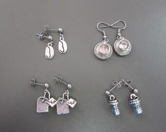 Time for Tea Earrings Set, Tea Bag Earrings, Coffee Earrings, Tea Cup Earrings, Coffee Cup Earrings, Coffee Bean Earrings