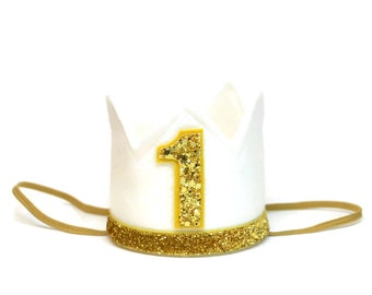 First Birthday Girl Outfit || First Birthday Crown || White Felt Crown || Birthday Photo Prop || Cake Smash Birthday Crown