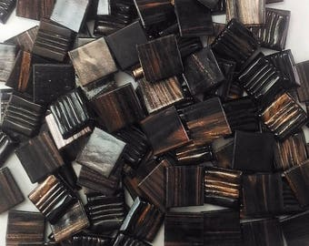 Vitreous glass mosaic tiles, 20x20 mm (3/4 inch),Semi-translucent, Chocolate