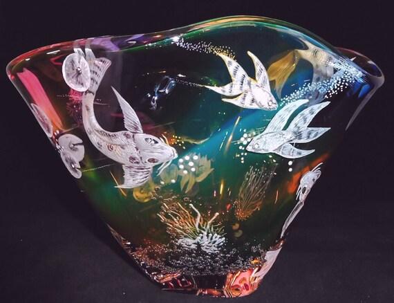 Hand Engraved Bowl, Koi Fish, HandBlown, Engraved, Koi, Homedecor, Wedding Gifts, Birthdays, centerpiece