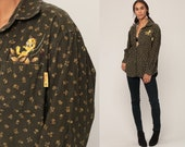 Looney Tunes Shirt Tweety Bird Shirt FLORAL CORDUROY Shirt Warner Bros Top 90s Graphic Retro Button Up Vintage Long Sleeve Extra Large xl