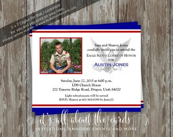 Eagle Scout Court of Honor Invitations-Dedicated Scout photo - blue/red design-Digital File