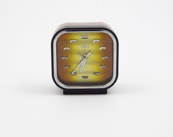 coral retro alarm clock two tone bronze dial made in japan, vintage japanese space age alarm clock