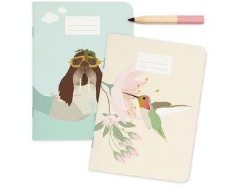 "Pocket size Notebooks - Walrus & Hummingbird   A6 - 4.13 x 5.83"""