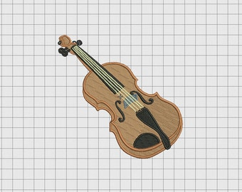 Violin String Instrument Embroidery Design in 3x3 4x4 5x5 and 6x6 Sizes