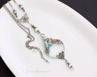 Butterfly Magnifying Glass Pendant Necklace with Pale Turquoise Patina Butterfly, Optical Lens Necklace