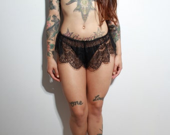 Black Lace French Knickers - sheer erotic burlesque lingerie