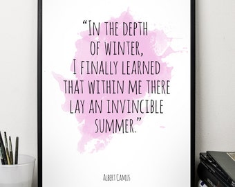 In the depth ..., Albert Camus , Alternative Watercolor Poster, Wall art quote, Motivational quote, Inspirational quote,T