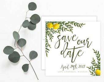 Printable Invitation - Watercolor Lemon Herbana, Simple, Greenery, Laurel Wreath, Save the Date