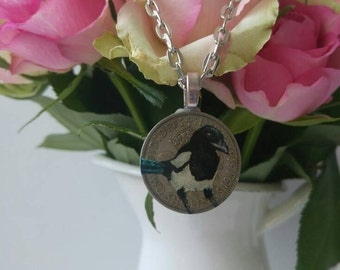 Handpainted magpie shilling coin necklace.  Keepsake.