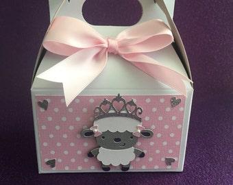 Baby shower little lamb favor boxes pink, set of 10