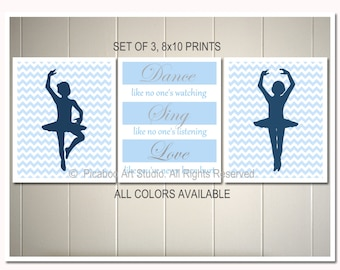 Ballerina nursery art, girls room wall decor, toddler girl art, ballerina, chevron art, dorm poster, Set of  3