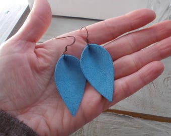 Handcrafted Leather Leaf Earrings Blue Suede Antiqued Copper Nickle Free Ear Wires