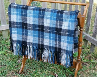 Blanket Blue Plaid Throw Vintage Pendleton Wool Stadium Blanket Football Cover Up Nostalgic 1960 Home Decor Bedding Large 66x55 inches