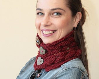 Marsala HAND KNIT Neck Warmer SCARF by Solandia, heart shaped buttons, women