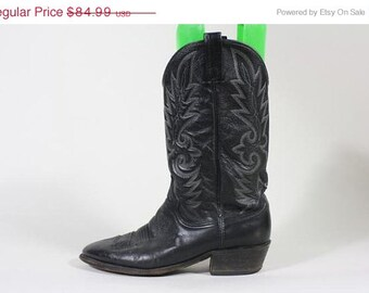 ON SALE Vtg Dan Post Black Leather Western Cowboy Boots 10