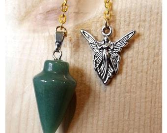 Green Aventurine Pendulum, scrying, dowsing, angel charm