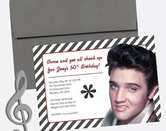 Elvis presley design etsy elvis presley milestone birthday invitation surprise party retro design deposit filmwisefo
