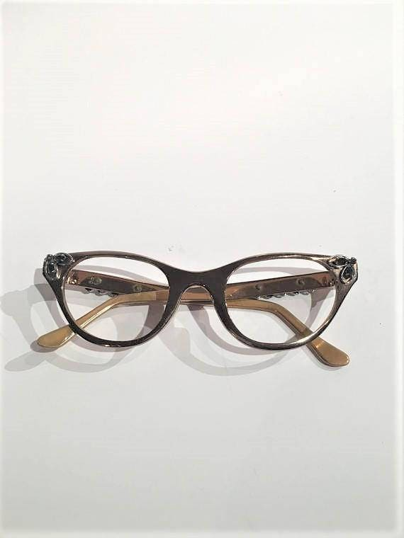 Vintage Tura Aluminum Rose Pink Rhinestones Cat Eye Glasses