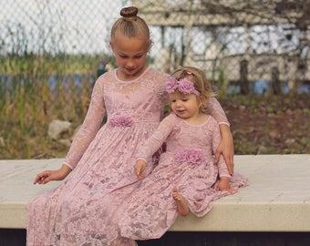 Flower Girl Dress Dusty Rose Lace Long Sleeve Baby
