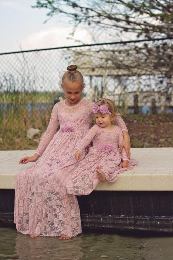 Niña de las flores polvoriento vestido rosa manga larga
