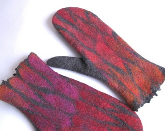 Felted grey wool mittens ombre mittens women merino wool grey gloves red pink orange leaves arm warmers Christmas gift -  Handmade to Order