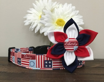 Dog collar, Patriotic dog collar, memorial day dog collar, patriotic plaid dog collar, dog flower, flower, 4th of july collar