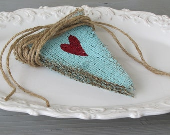 Red Glittered Hearts....Mini Burlap Banner
