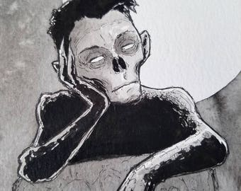 Ghoul Ghost Illustration Inktober Original 5x7 Pen and Ink on Watercolor Paper