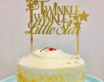 Twinkle Twinkle Little Star Glitter cake topper,  Little star cake topper, Twinkle Twinkle cake topper