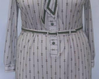 Vintage Size 18 Green Plus Size Print Dress