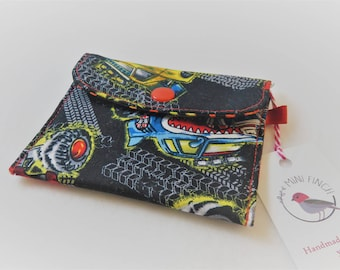 Fold Over Coin Purse with Snap in Monster Trucks on Black