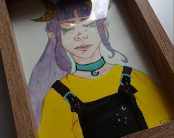 "Original framed Artwork ""Golden moons"""