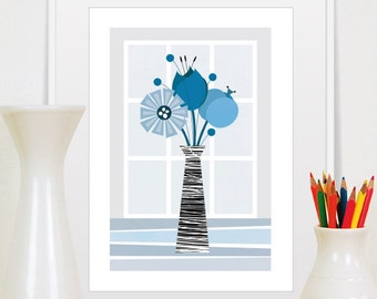 Blue Flowers Print, Floral Illustration, Home Decor, Floral Wall Art, Mid Century Modern, Scandinavian Modern, Floral Print, Flower Decor