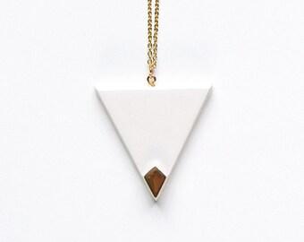 White glossy Triangle pendant
