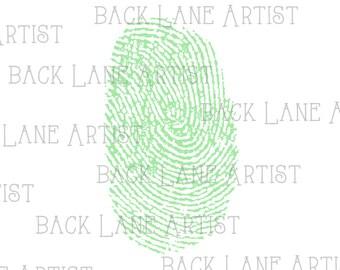 Fingerprint Clipart Lineart Illustration Instant Download PNG JPG Digi Line Art Image Drawing L066d