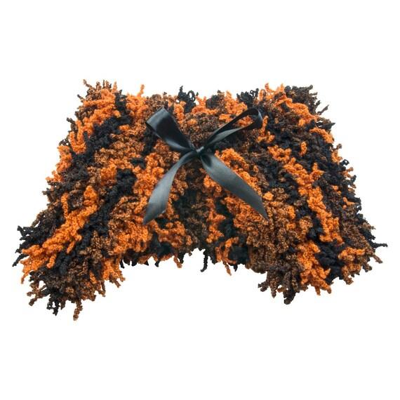 Girls wool fancy dress halloween cape in orange and black