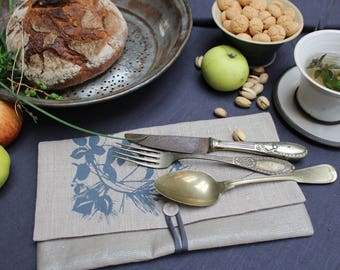 """Cutlery bag """"Blackberries and pine branches"""""""