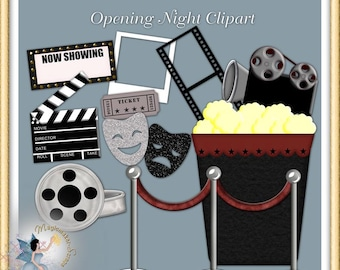 Movies Clipart, Hollywood Party Commercial Use